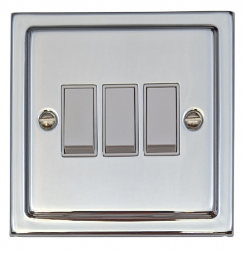 G&H TC3W Trimline Plate Polished Chrome 3 Gang 1 or 2 Way Rocker Light Switch